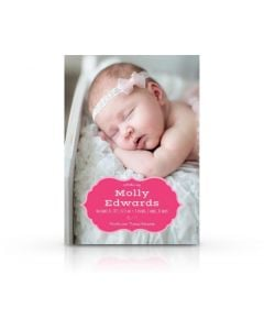 Pink Heraldic Frame Birth Announcement Card